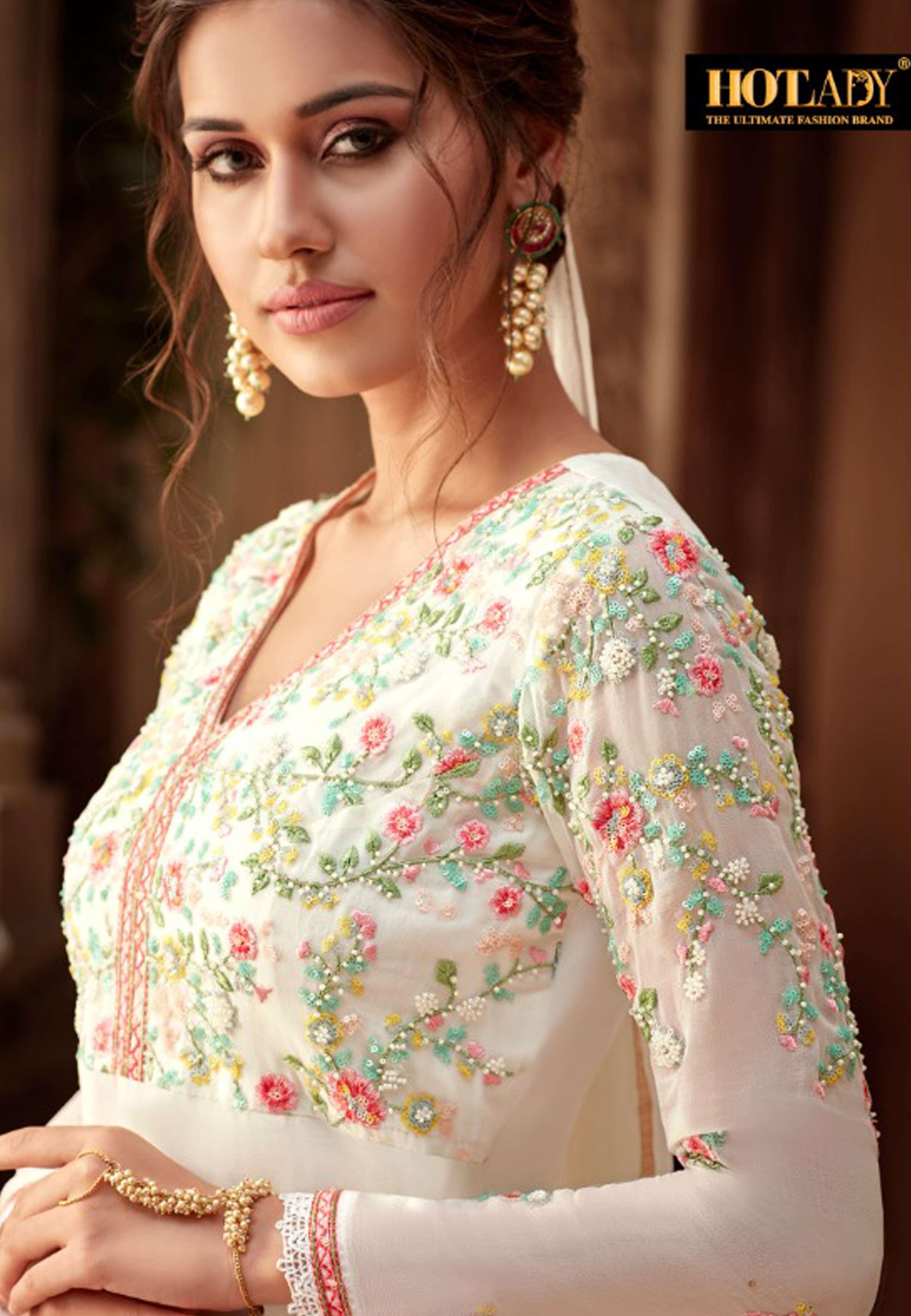 Hotlady Partywear Bemberg Georgette Salwar Suit Bk 8183
